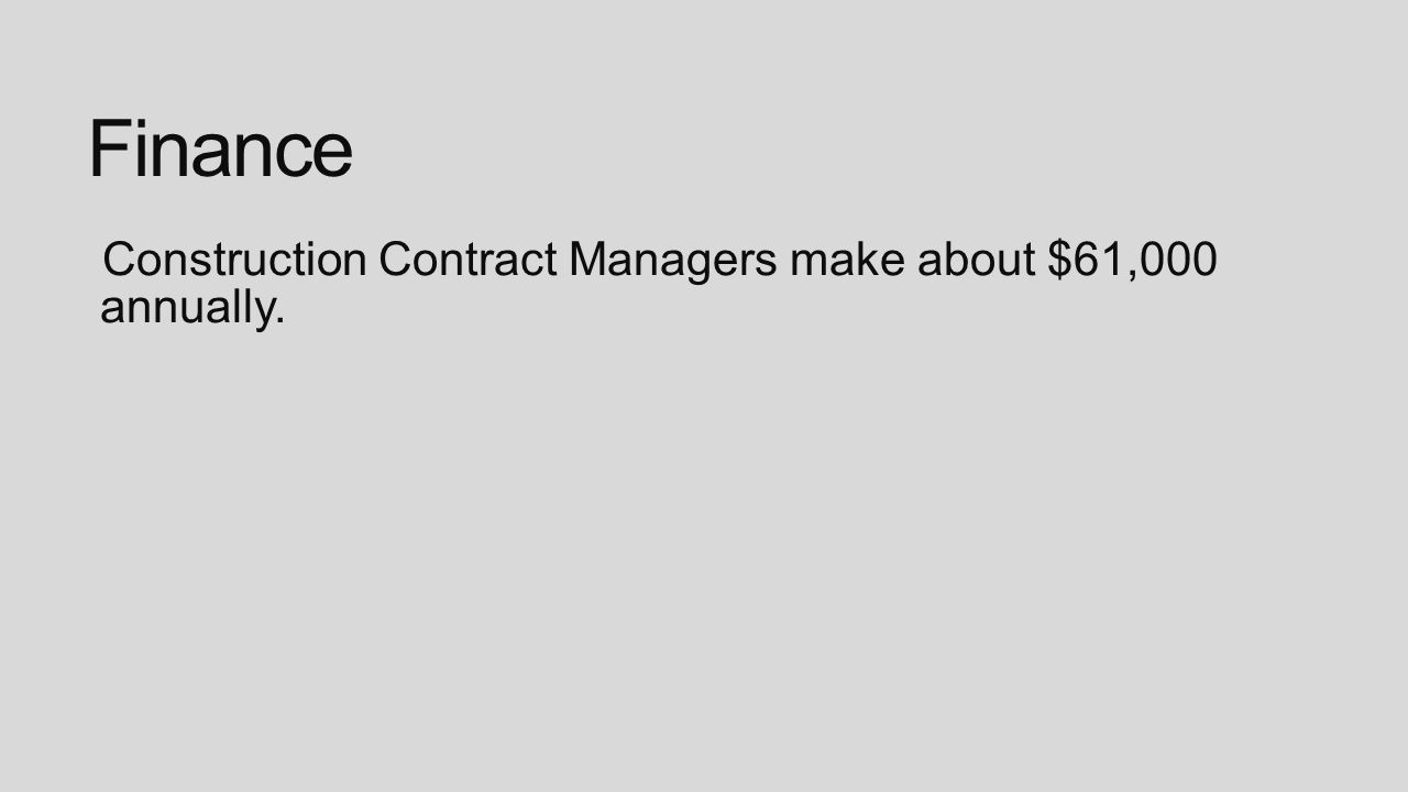 Finance Construction Contract Managers make about $61,000 annually.