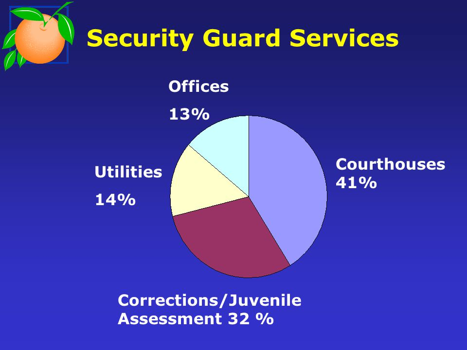 Security Guard Services Courthouses 41% Corrections/Juvenile Assessment 32 % Utilities 14% Offices 13%