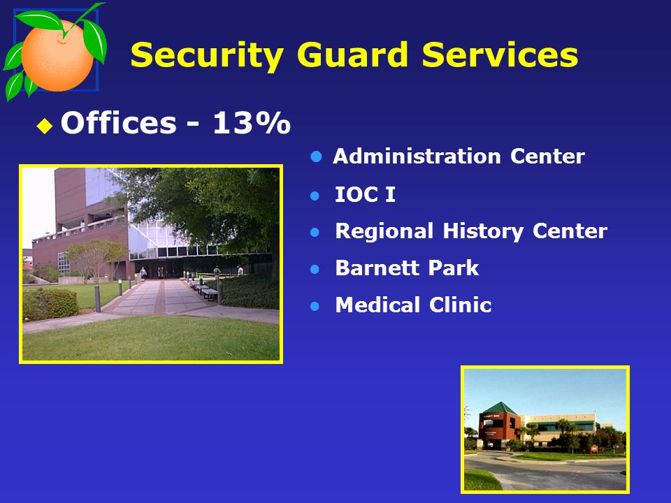 Security Guard Services Offices - 13% Administration Center IOC I Regional History Center Barnett Park Medical Clinic