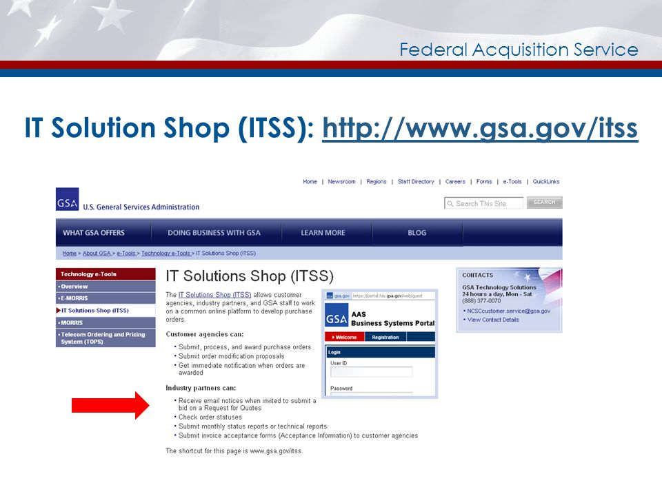 Federal Acquisition Service IT Solution Shop (ITSS): http://www.gsa.gov/itsshttp://www.gsa.gov/itss
