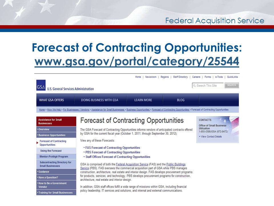 Federal Acquisition Service Forecast of Contracting Opportunities: www.gsa.gov/portal/category/25544 www.gsa.gov/portal/category/25544