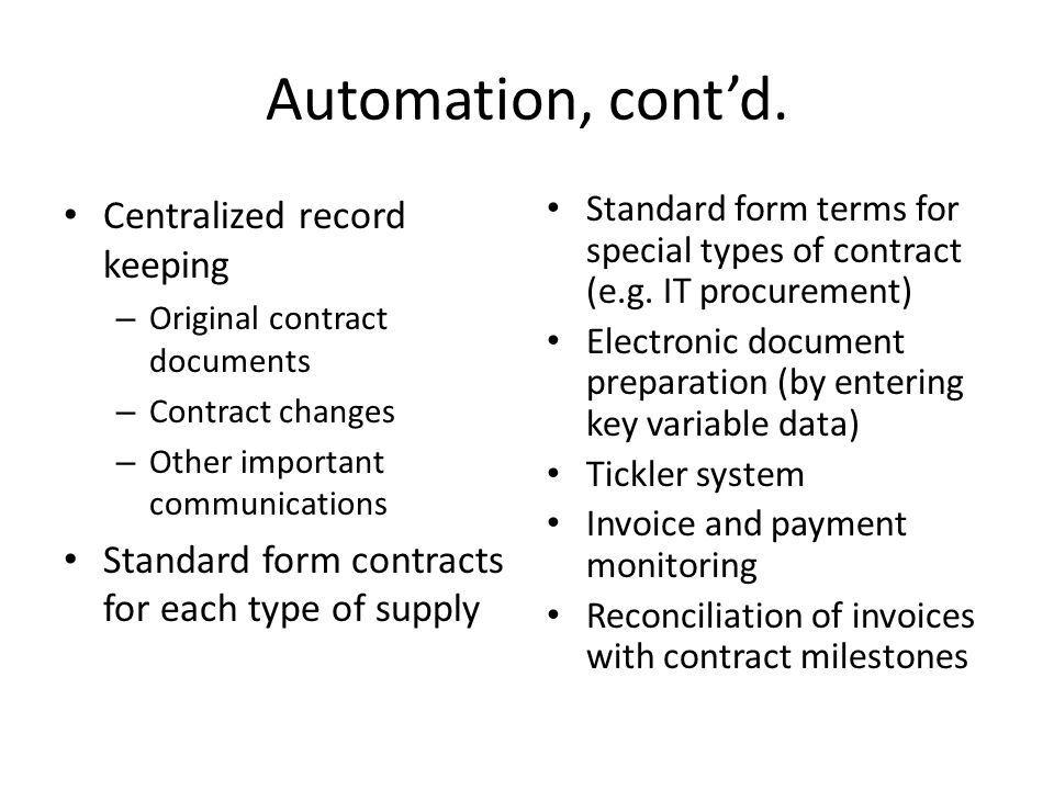 Automation, contd.