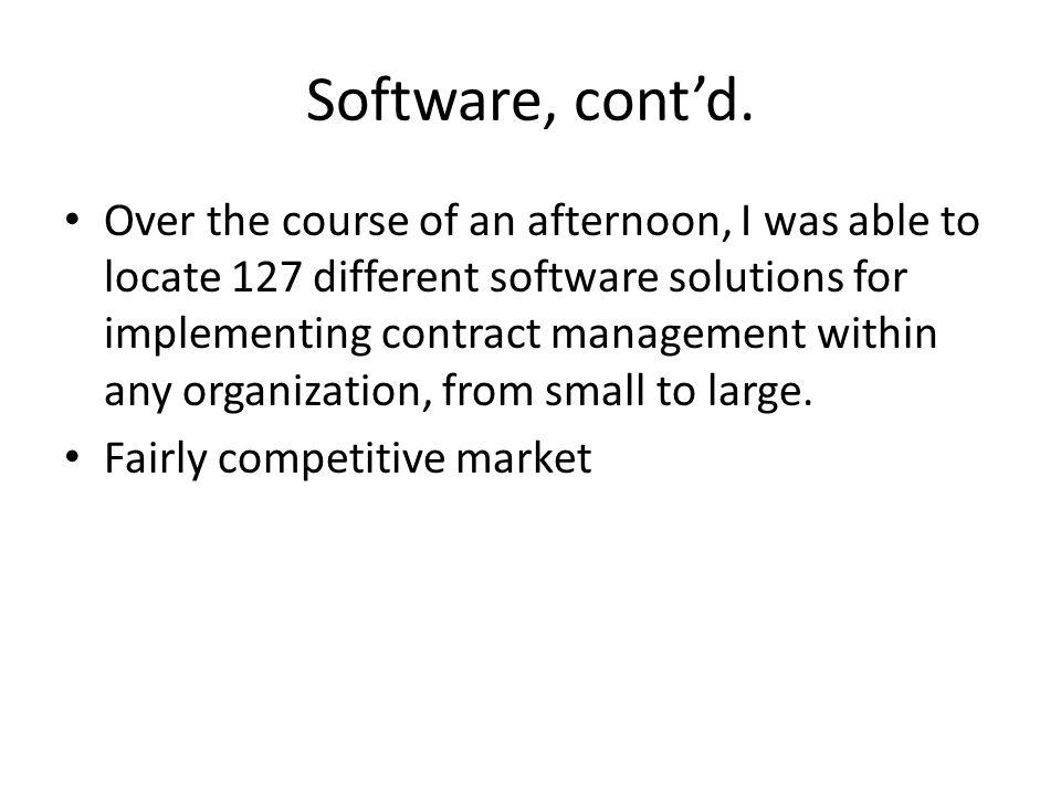 Software, contd.