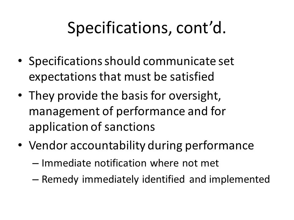 Specifications, contd.