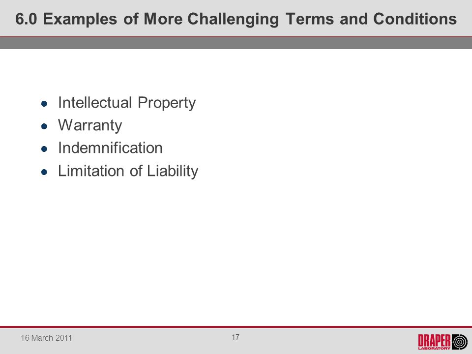Intellectual Property Warranty Indemnification Limitation of Liability 6.0 Examples of More Challenging Terms and Conditions 17 16 March 2011