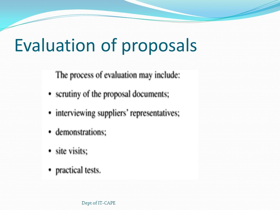 Evaluation of proposals Dept of IT-CAPE