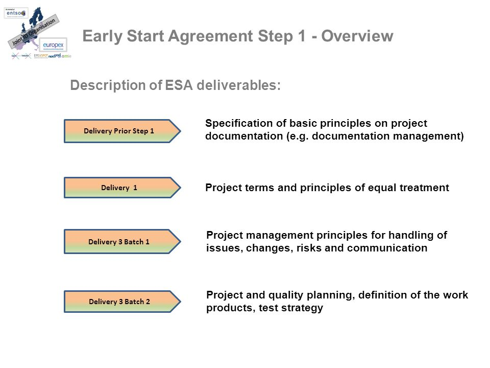 Early Start Agreement Step 1 - Overview Delivery 3 Batch 2 Delivery Prior Step 1 Delivery 3 Batch 1 Delivery 1 Description of ESA deliverables: Specification of basic principles on project documentation (e.g.