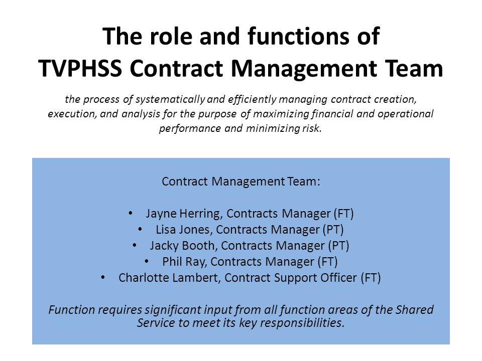 The role and functions of TVPHSS Contract Management Team Contract Management Team: Jayne Herring, Contracts Manager (FT) Lisa Jones, Contracts Manager (PT) Jacky Booth, Contracts Manager (PT) Phil Ray, Contracts Manager (FT) Charlotte Lambert, Contract Support Officer (FT) Function requires significant input from all function areas of the Shared Service to meet its key responsibilities.