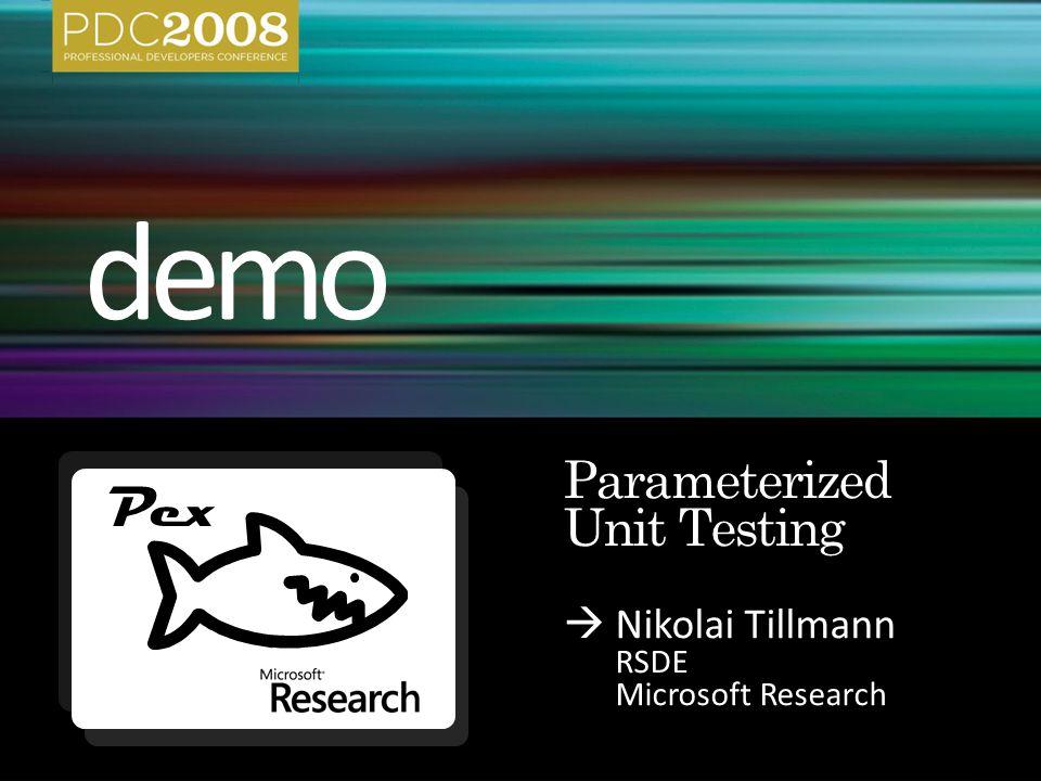 Nikolai Tillmann RSDE Microsoft Research Pex