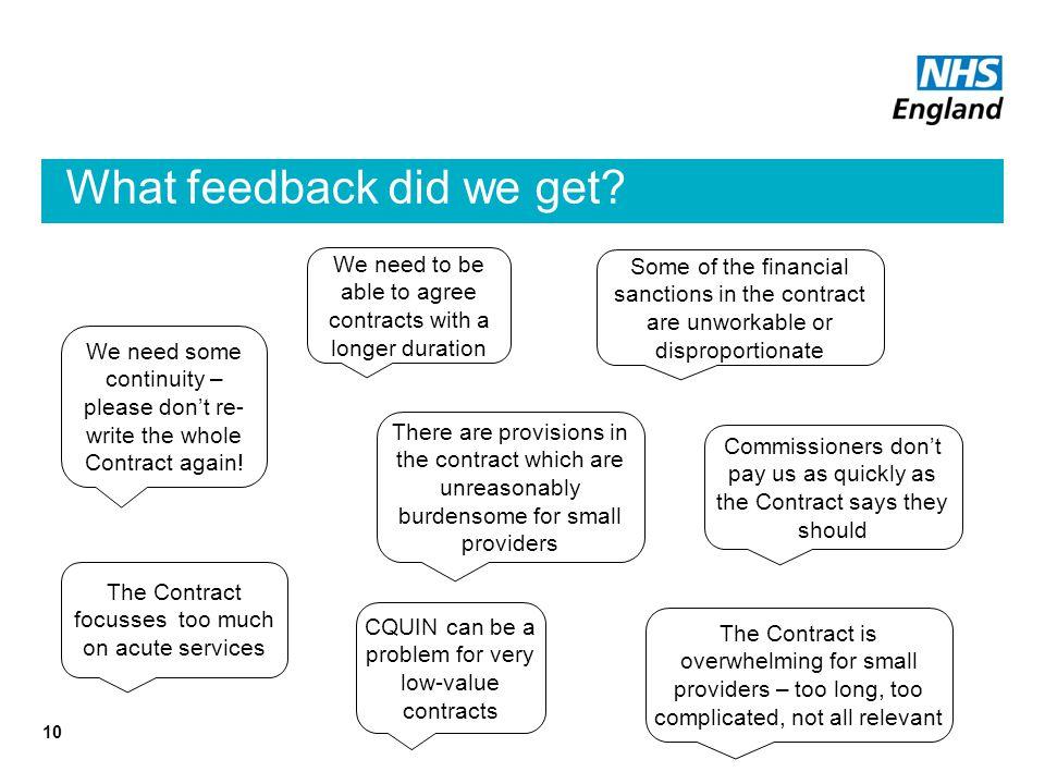 What feedback did we get.
