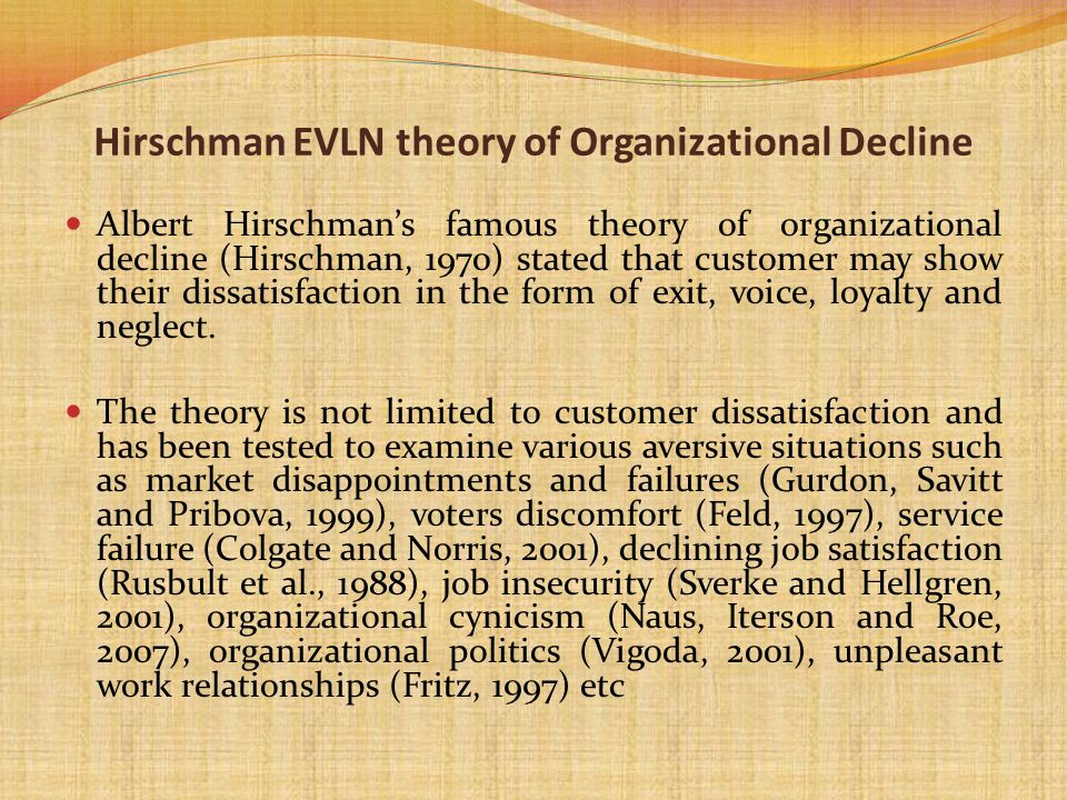 Hirschman EVLN theory of Organizational Decline Albert Hirschmans famous theory of organizational decline (Hirschman, 1970) stated that customer may s