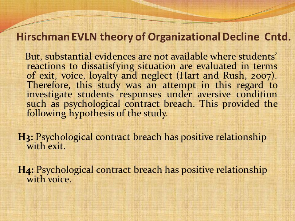 Hirschman EVLN theory of Organizational Decline Cntd. But, substantial evidences are not available where students reactions to dissatisfying situation