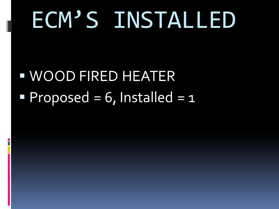 ECMS INSTALLED WOOD FIRED HEATER Proposed = 6, Installed = 1