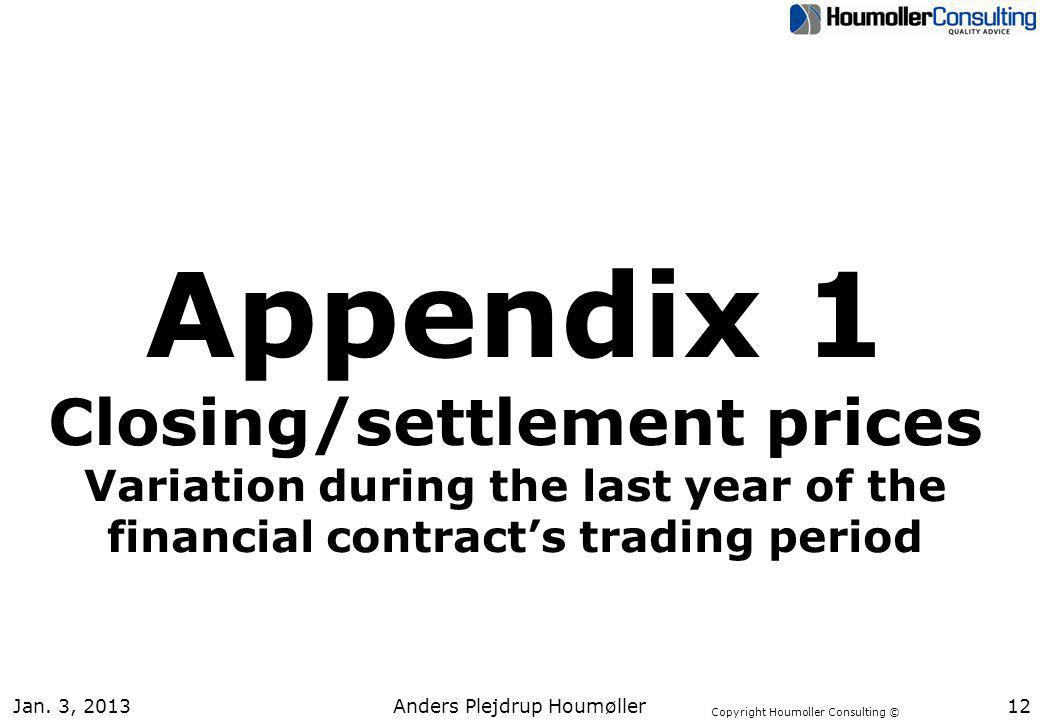 Copyright Houmoller Consulting © Jan. 3, 201312 Appendix 1 Closing/settlement prices Variation during the last year of the financial contracts trading