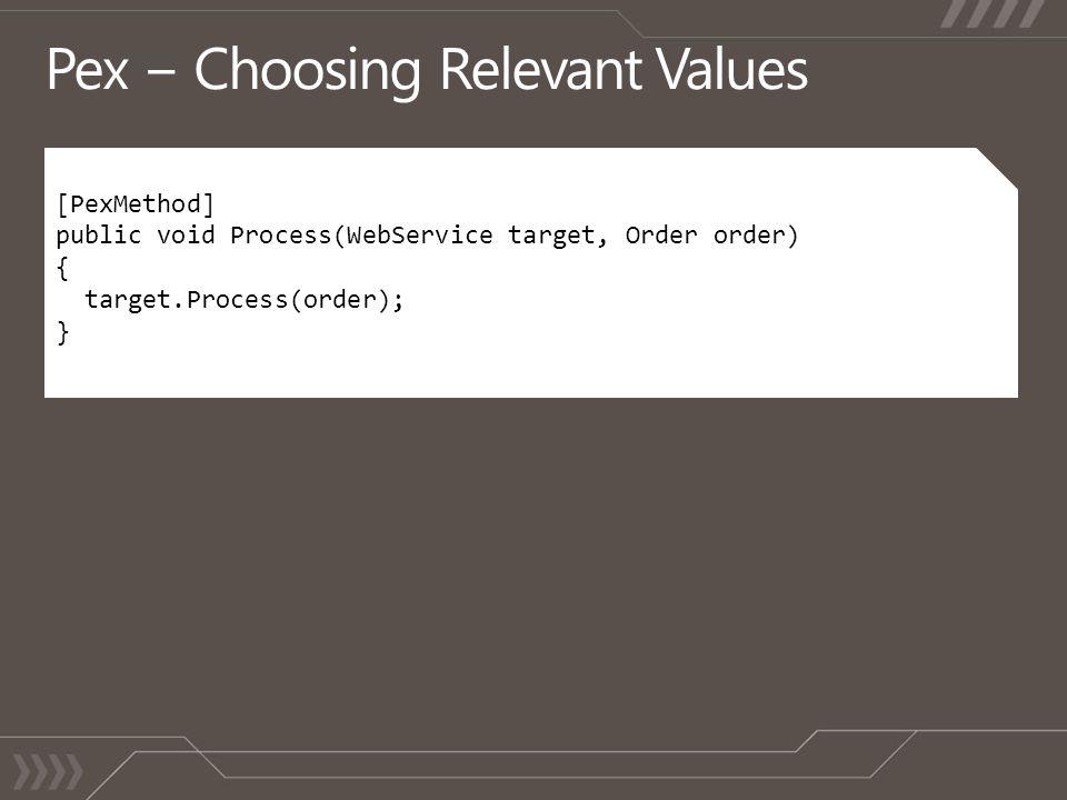 [PexMethod] public void Process(WebService target, Order order) { target.Process(order); }