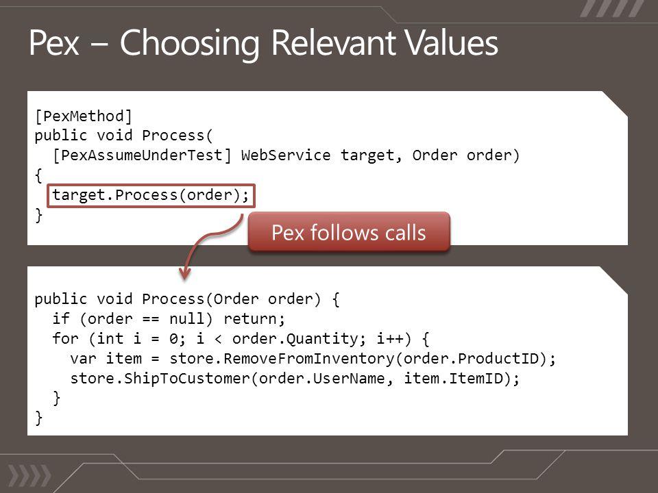 [PexMethod] public void Process( [PexAssumeUnderTest] WebService target, Order order) { target.Process(order); } public void Process(Order order) { if (order == null) return; for (int i = 0; i < order.Quantity; i++) { var item = store.RemoveFromInventory(order.ProductID); store.ShipToCustomer(order.UserName, item.ItemID); }