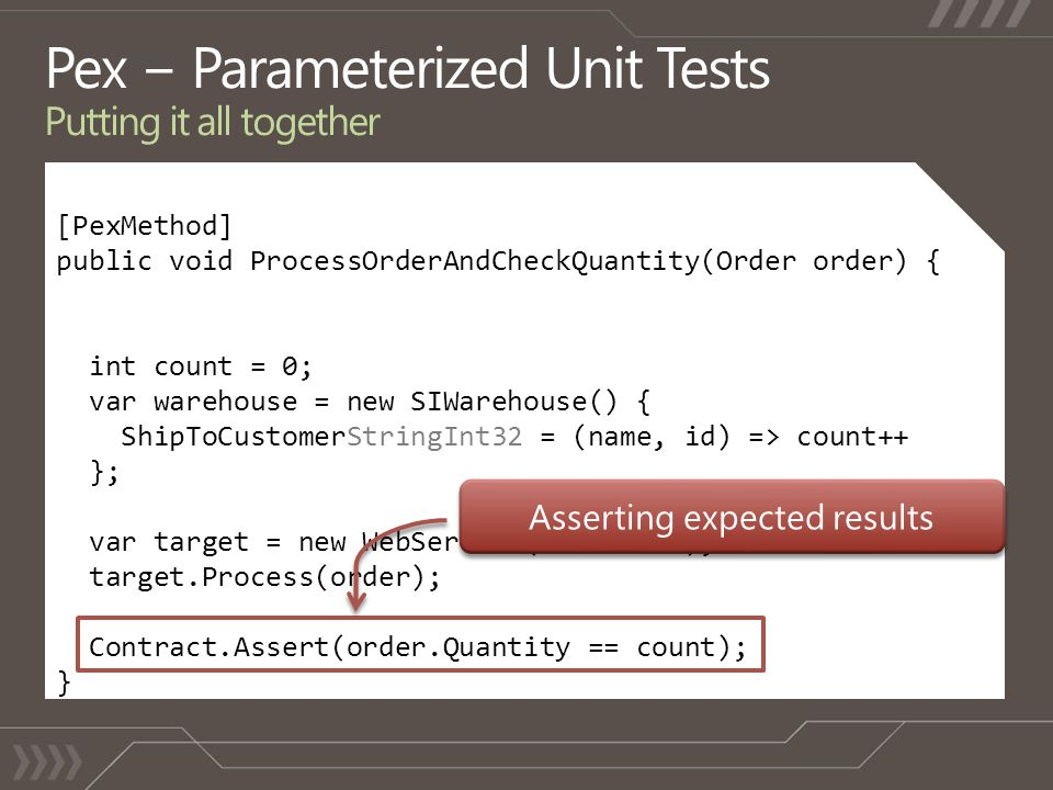 [PexMethod] public void ProcessOrderAndCheckQuantity(Order order) { int count = 0; var warehouse = new SIWarehouse() { ShipToCustomerStringInt32 = (name, id) => count++ }; var target = new WebService(warehouse); target.Process(order); Contract.Assert(order.Quantity == count); }
