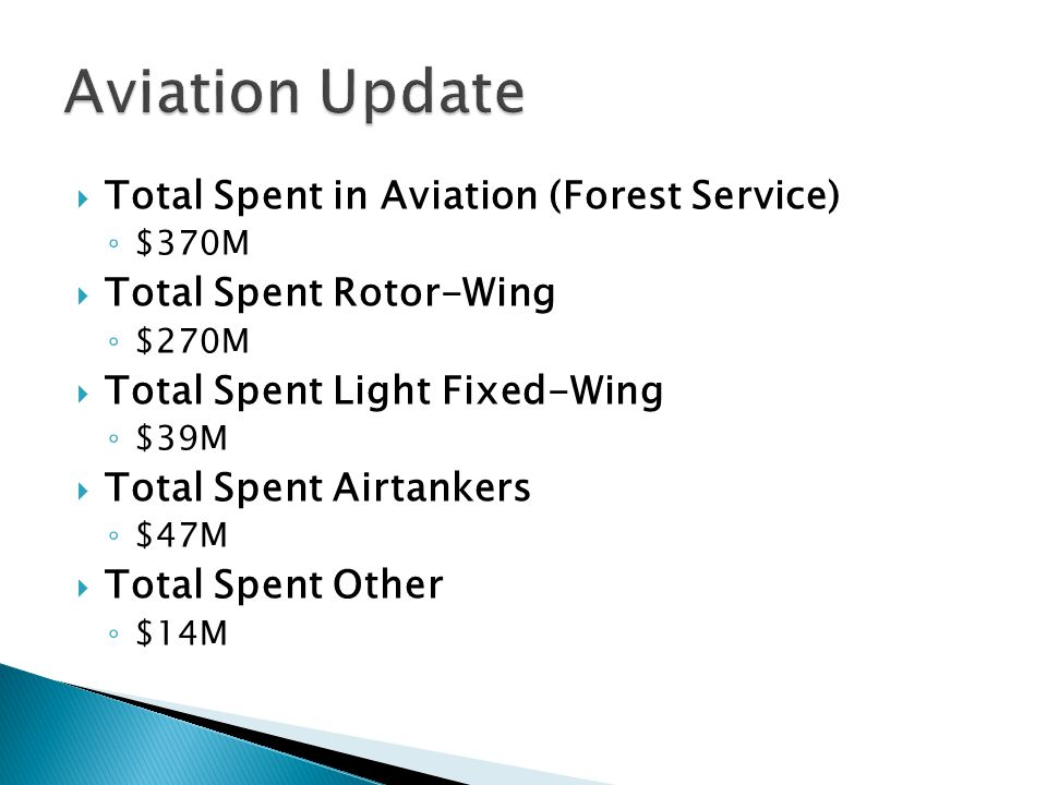 Total Spent in Aviation (Forest Service) $370M Total Spent Rotor-Wing $270M Total Spent Light Fixed-Wing $39M Total Spent Airtankers $47M Total Spent
