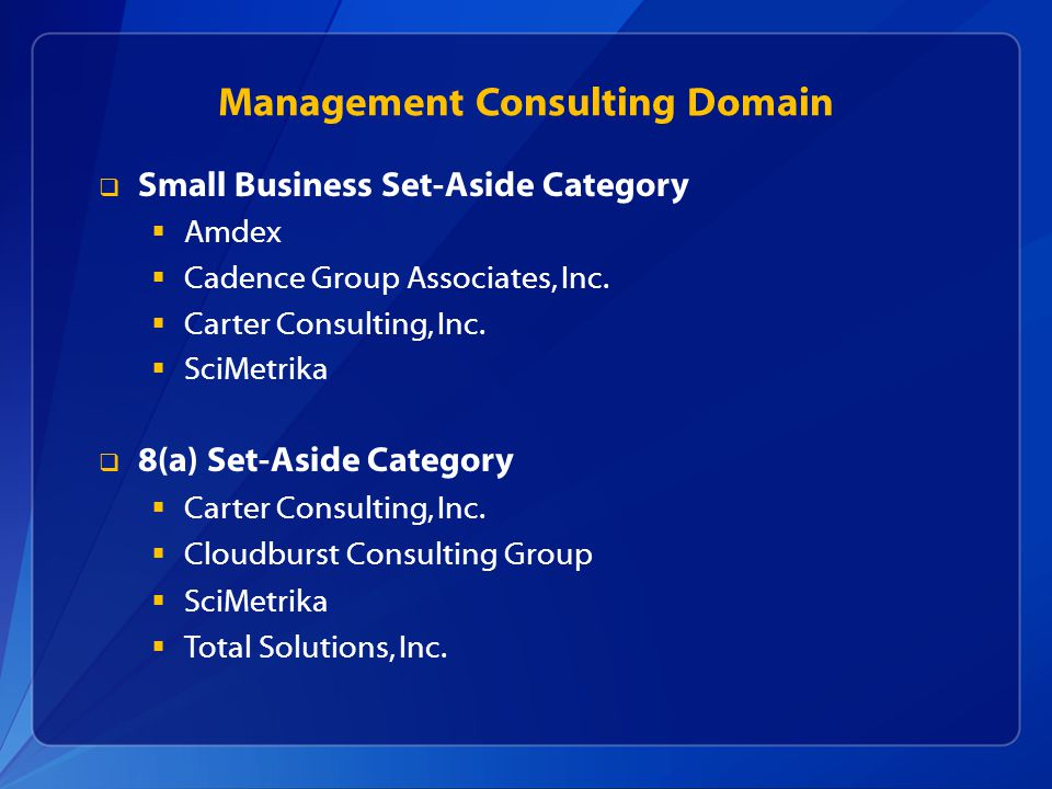 Management Consulting Domain Small Business Set-Aside Category Amdex Cadence Group Associates, Inc.