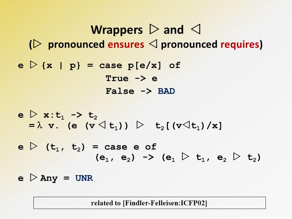 e {x | p} = case p[e/x] of True -> e False -> BAD e x:t 1 -> t 2 = v.