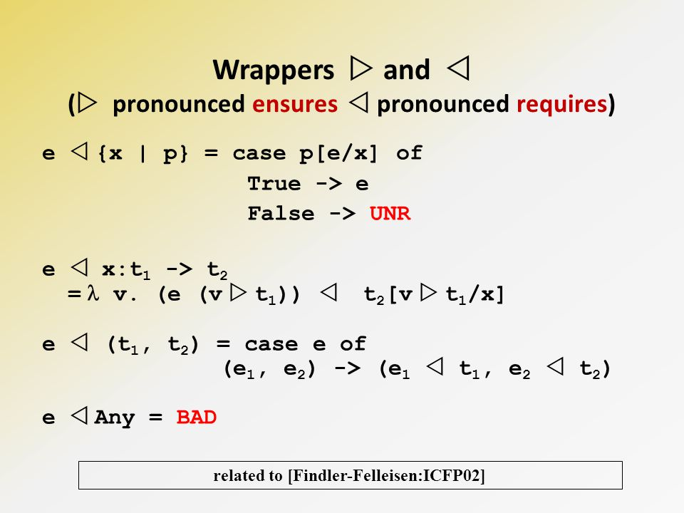 Wrappers and ( pronounced ensures pronounced requires) related to [Findler-Felleisen:ICFP02] e {x | p} = case p[e/x] of True -> e False -> UNR e x:t 1 -> t 2 = v.