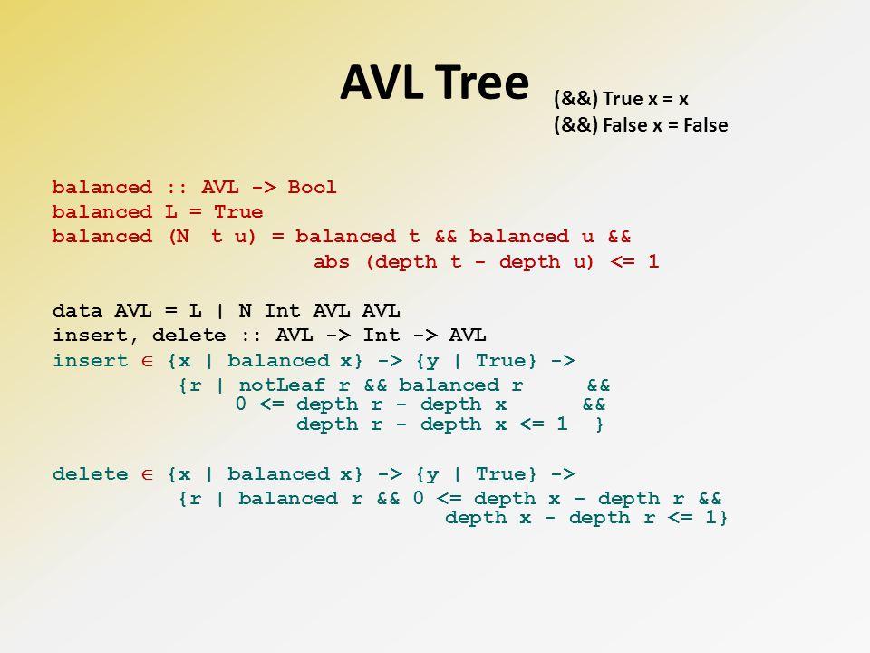 AVL Tree balanced :: AVL -> Bool balanced L = True balanced (N t u) = balanced t && balanced u && abs (depth t - depth u) <= 1 data AVL = L | N Int AVL AVL insert, delete :: AVL -> Int -> AVL insert {x | balanced x} -> {y | True} -> {r | notLeaf r && balanced r && 0 <= depth r - depth x && depth r - depth x <= 1 } delete {x | balanced x} -> {y | True} -> {r | balanced r && 0 <= depth x - depth r && depth x - depth r <= 1} (&&) True x = x (&&) False x = False
