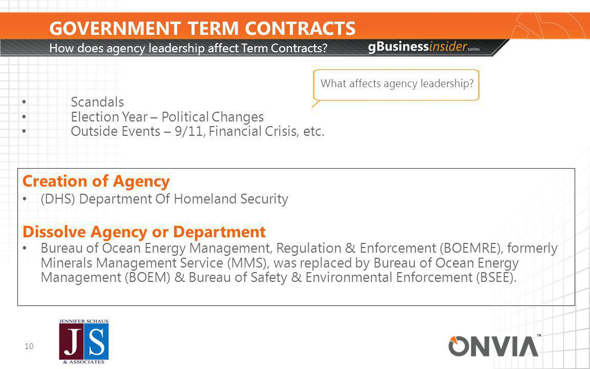 GOVERNMENT TERM CONTRACTS How does agency leadership affect Term Contracts.