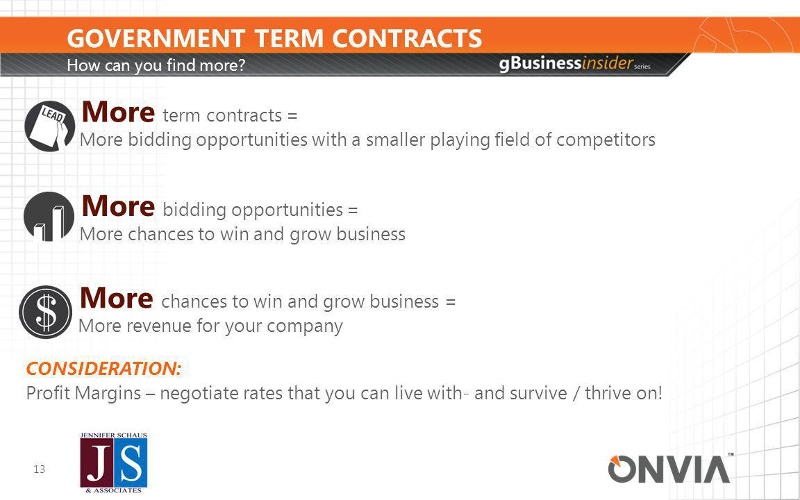 GOVERNMENT TERM CONTRACTS How can you find more.