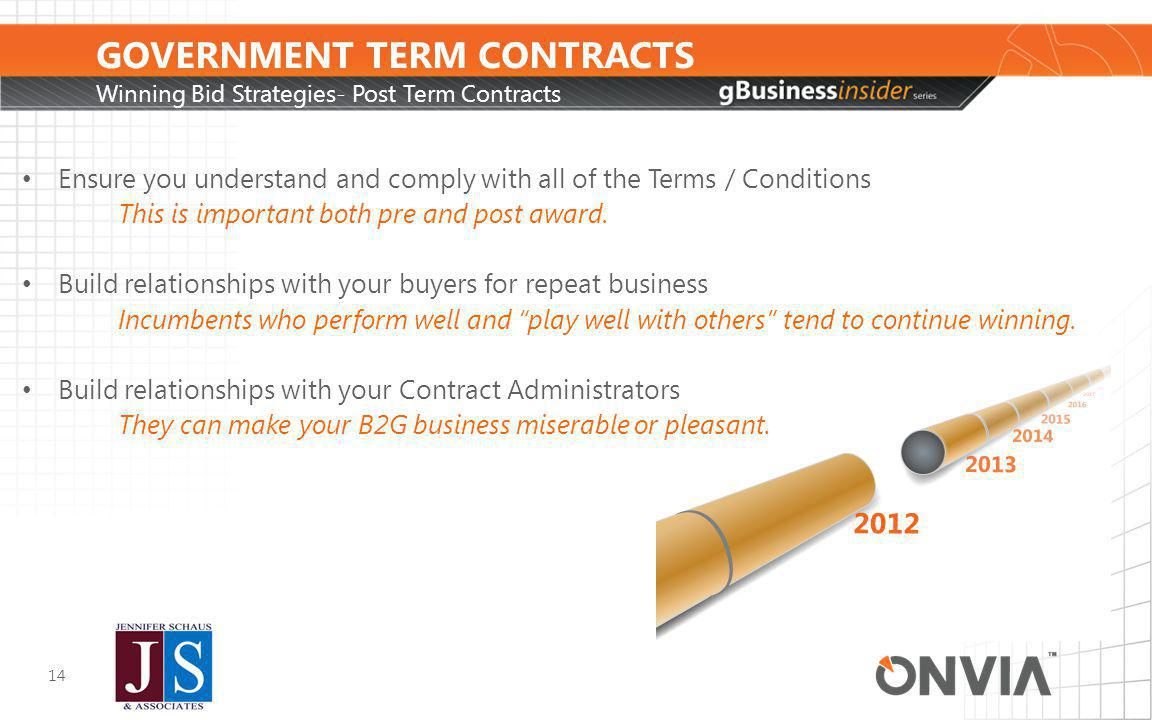 GOVERNMENT TERM CONTRACTS Winning Bid Strategies- Post Term Contracts 14 Ensure you understand and comply with all of the Terms / Conditions This is important both pre and post award.
