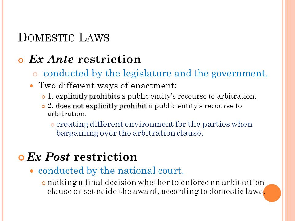 D OMESTIC L AWS Ex Ante restriction conducted by the legislature and the government. Two different ways of enactment: explicitly prohibits 1. explicit