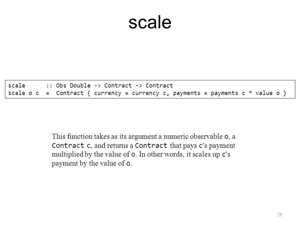 29 scale scale :: Obs Double -> Contract -> Contract scale o c = Contract { currency = currency c, payments = payments c * value o } This function takes as its argument a numeric observable o, a Contract c, and returns a Contract that pays c s payment multiplied by the value of o.