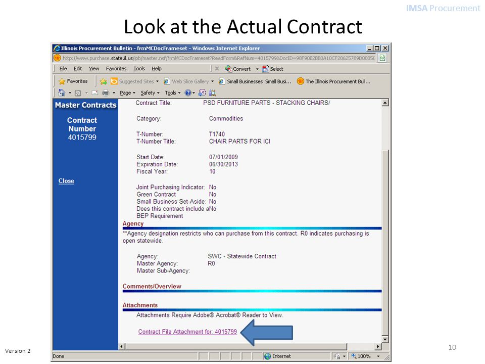 IMSA Procurement Version 2 10 Look at the Actual Contract