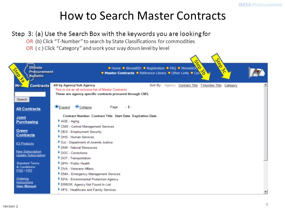 IMSA Procurement Version 2 How to Search Master Contracts Step 3: (a) Use the Search Box with the keywords you are looking for OR (b) Click T-Number to search by State Classifications for commodities OR ( c ) Click Category and work your way down level by level Step 3b Step 3a Step 3c 4