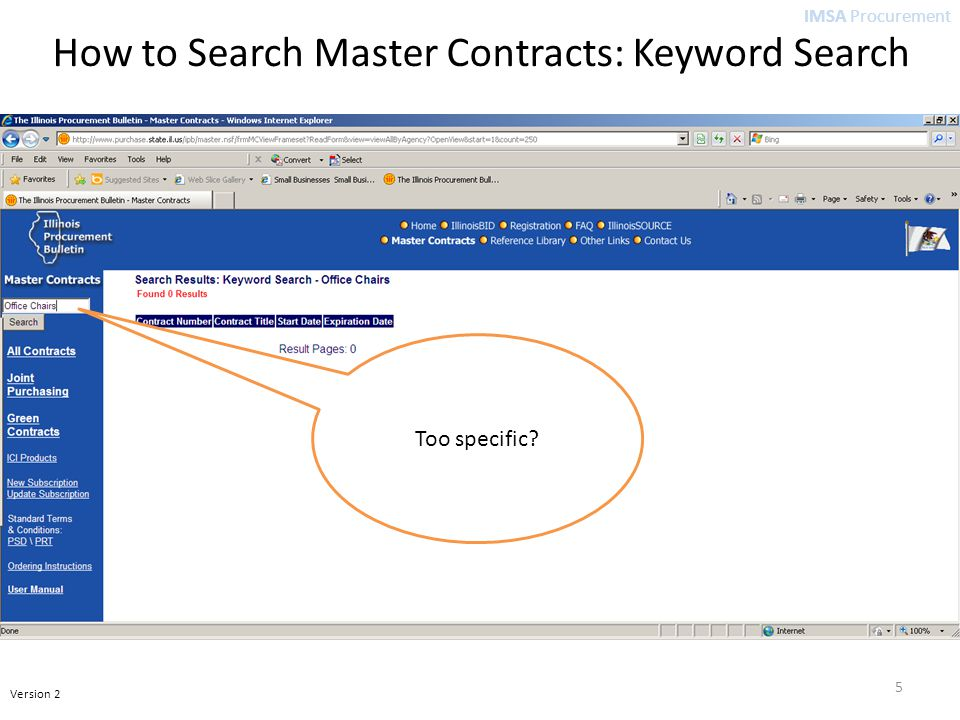 IMSA Procurement Version 2 5 Too specific? How to Search Master Contracts: Keyword Search