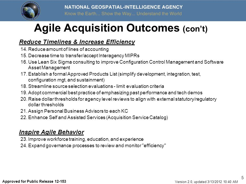 16 Version 2.0, updated 3/13/2012 10:40 AM Approved for Public Release 12-153 TASER Business Opportunities OpportunityDescription L GVS - GEOINT Visualization Services Support the NGA Vision of putting GEOINT into the hands of the users through NSG Visualization Services initiatives by: Providing online, on-demand access to our GEOINT knowledge L OGS - Online GEOINT Services Web service developers will continue to service enable data in support of On-line GEOINT service through 1 core support team.