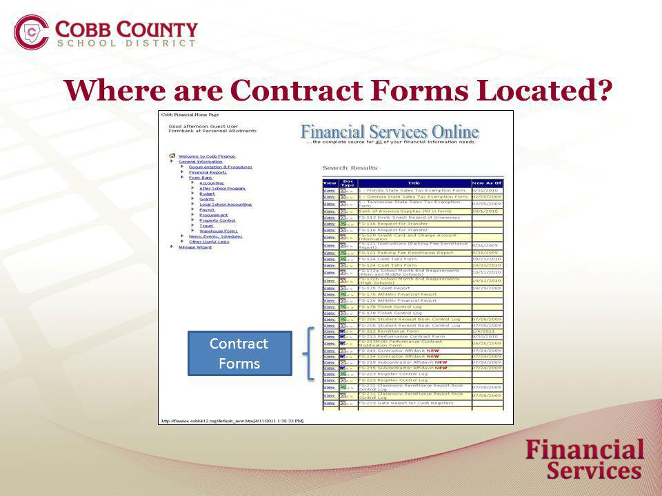 Forms Overview Performance Contracts Performance Contract Form FS-213 Performance Contract Form FS-213 MOD (Modification) Contract Remittance Form FS-212 Form used to make payment against a Performance Contract.