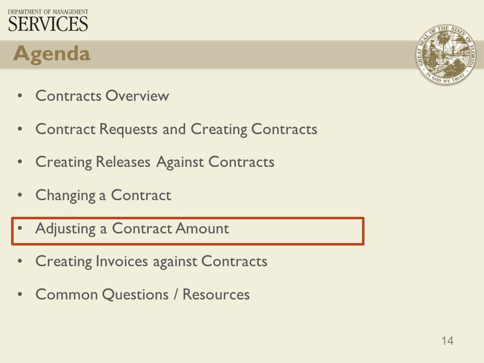14 Contracts Overview Contract Requests and Creating Contracts Creating Releases Against Contracts Changing a Contract Adjusting a Contract Amount Cre