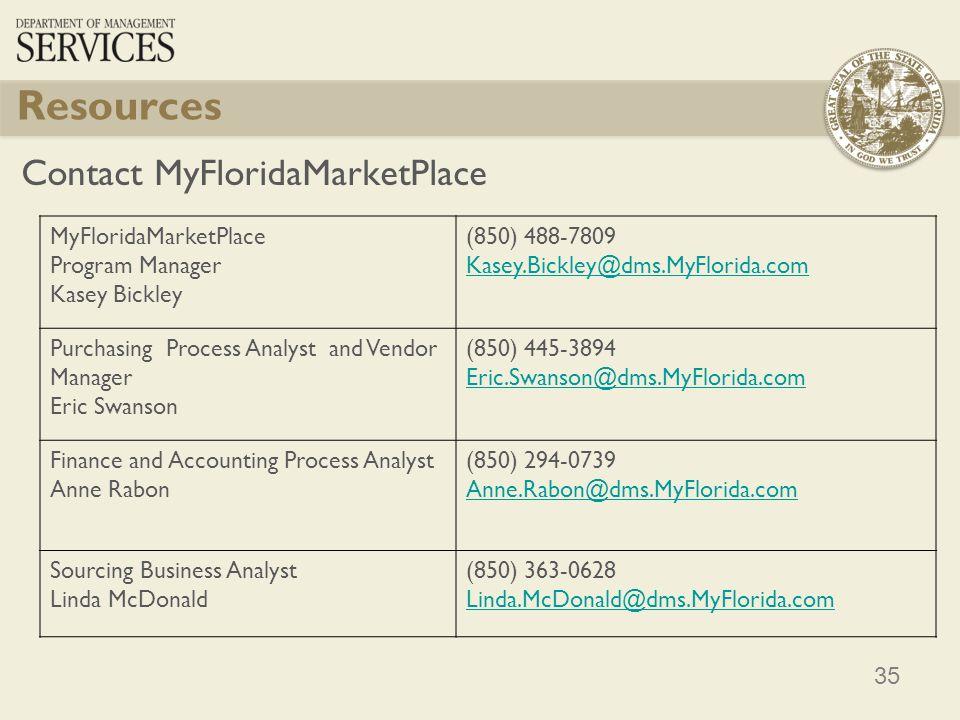 35 Resources Contact MyFloridaMarketPlace MyFloridaMarketPlace Program Manager Kasey Bickley (850) 488-7809 Kasey.Bickley@dms.MyFlorida.com Purchasing