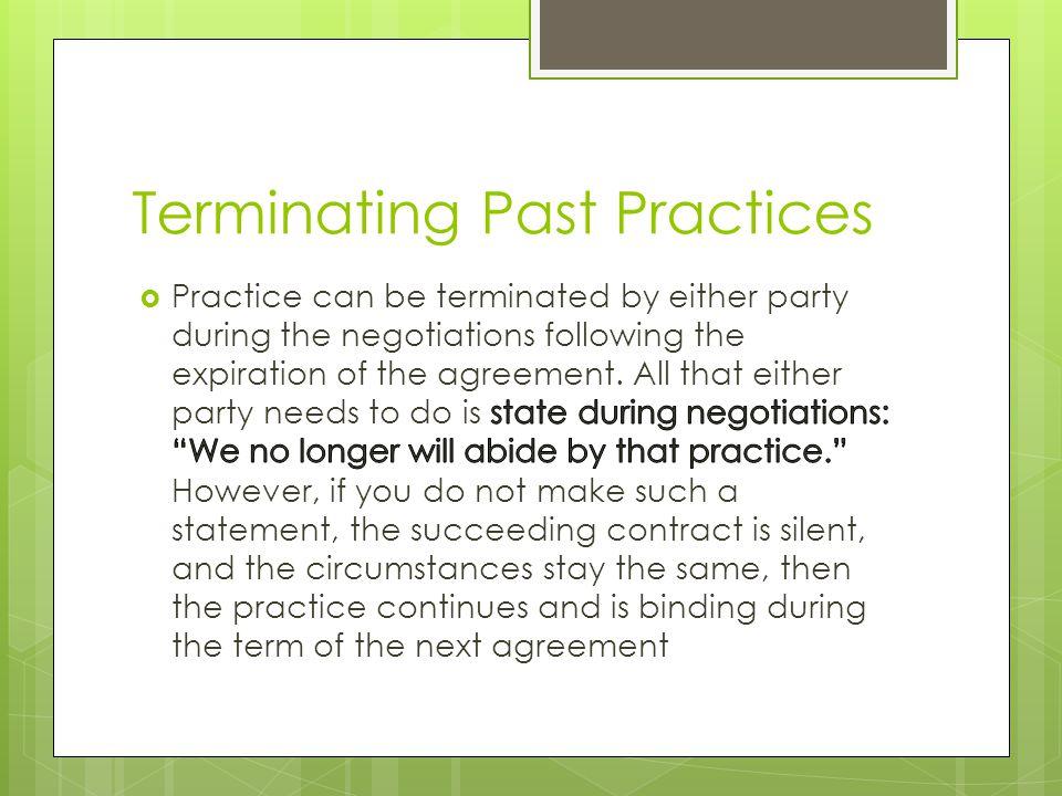 Terminating Past Practices