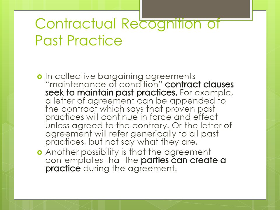 Contractual Recognition of Past Practice