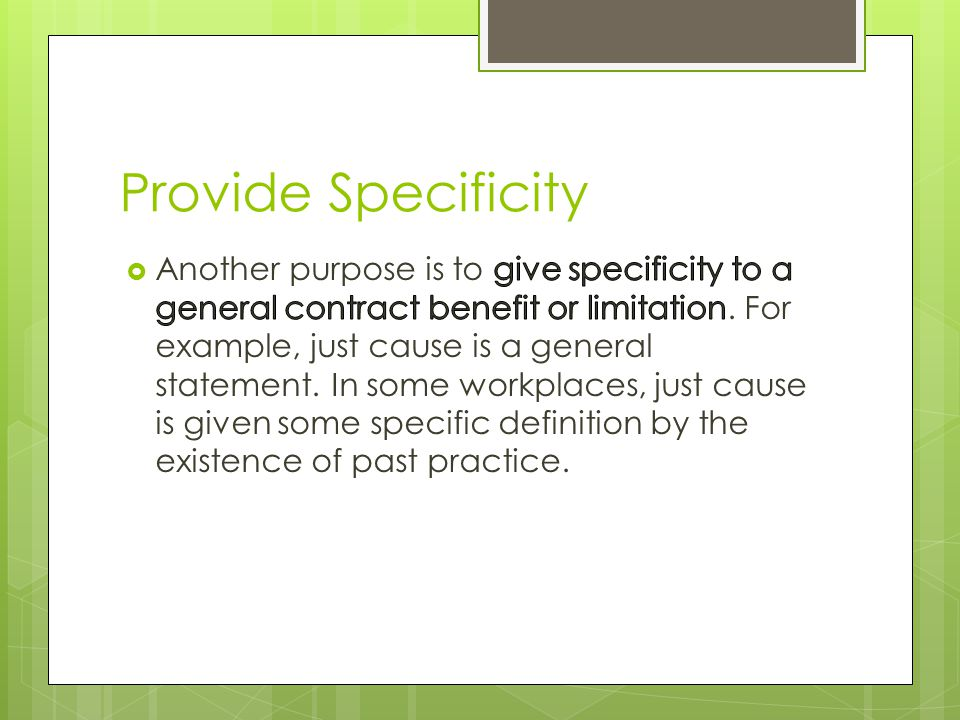 Provide Specificity