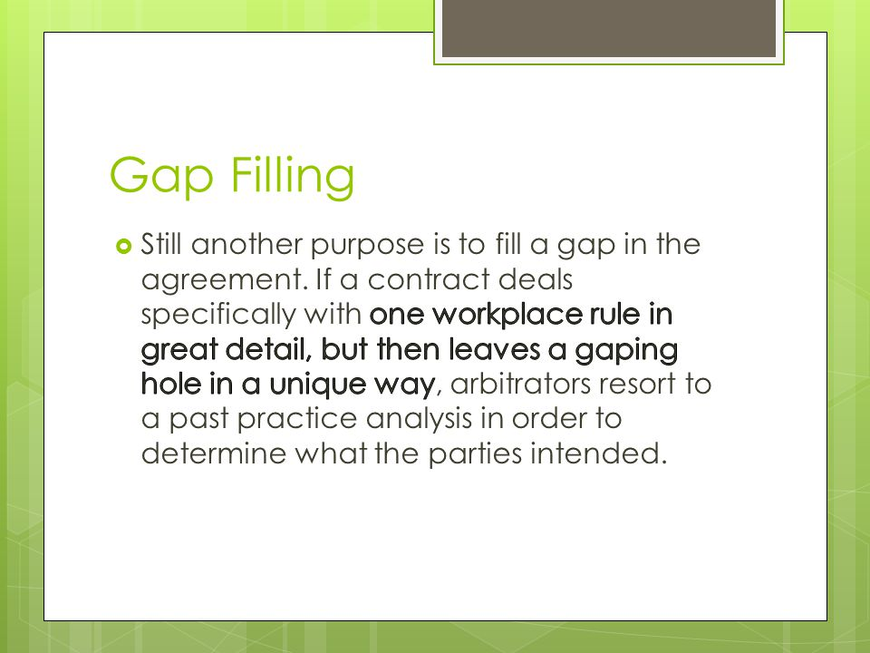 Gap Filling