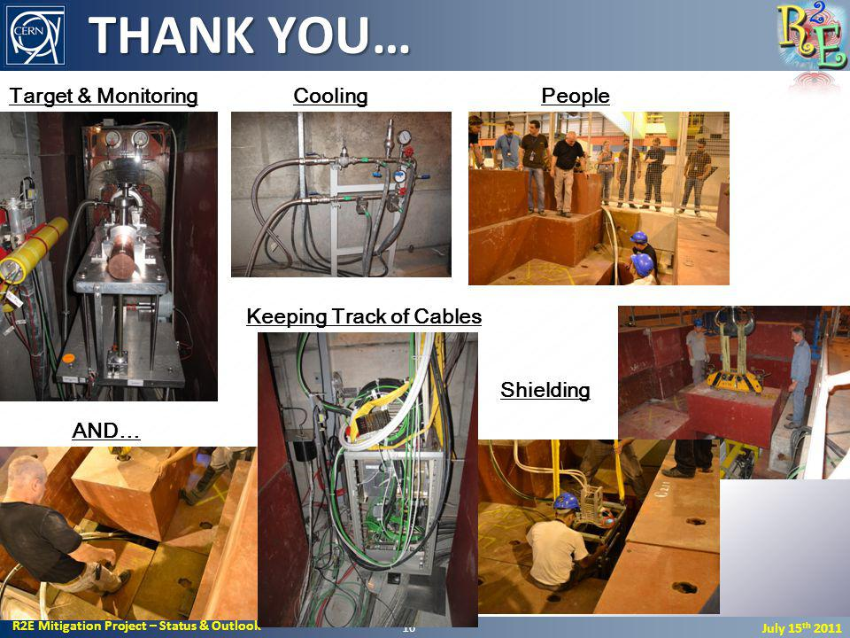 R2E Mitigation Project – Status & Outlook July 15 th 2011 THANK YOU… 16 Keeping Track of Cables Target & MonitoringPeopleCooling Shielding AND…