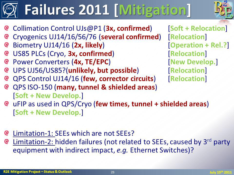 R2E Mitigation Project – Status & Outlook July 15 th 2011 Failures 2011 [Mitigation] Collimation Control UJs@P1 (3x, confirmed) [Soft + Relocation] Cryogenics UJ14/16/56/76 (several confirmed)[Relocation] Biometry UJ14/16 (2x, likely) [Operation + Rel.?] US85 PLCs (Cryo, 3x, confirmed) [Relocation] Power Converters (4x, TE/EPC) [New Develop.] UPS UJ56/US85?(unlikely, but possible) [Relocation] QPS Control UJ14/16 (few, corrector circuits) [Relocation] QPS ISO-150 (many, tunnel & shielded areas) [Soft + New Develop.] uFIP as used in QPS/Cryo (few times, tunnel + shielded areas) [Soft + New Develop.] Limitation-1: SEEs which are not SEEs.