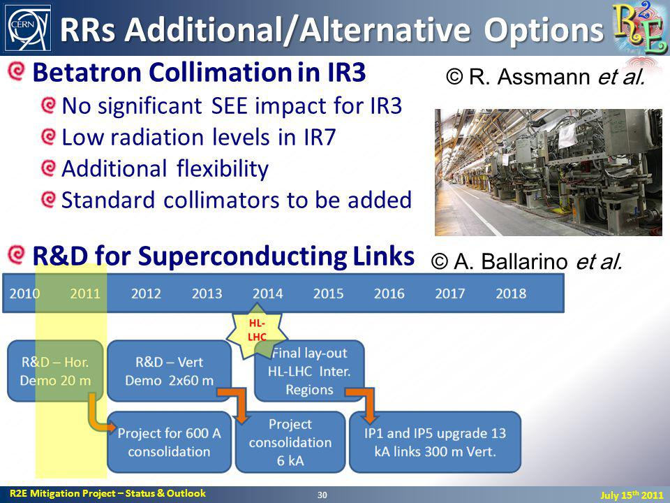 R2E Mitigation Project – Status & Outlook July 15 th 2011 RRs Additional/Alternative Options Betatron Collimation in IR3 No significant SEE impact for IR3 Low radiation levels in IR7 Additional flexibility Standard collimators to be added R&D for Superconducting Links 30 © A.