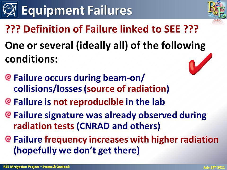R2E Mitigation Project – Status & Outlook July 15 th 2011 Equipment Failures ??.