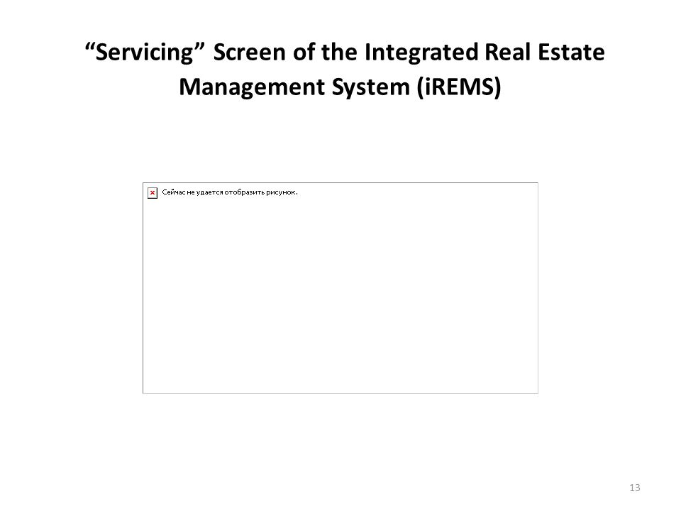 Servicing Screen of the Integrated Real Estate Management System (iREMS) 13