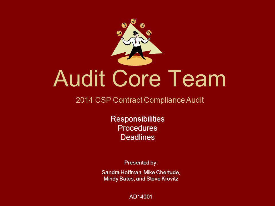Thank You & Good Luck Audit Core Team Sandra Hoffmansandra.hoffman@ky.gov859-371-9049 x70113 Mike Chertudemichaelc@dor.wa.gov360-256-2081 Mindy Batesmbates@dor.in.gov765-457-0525 x80036 Steve Krovitzsteve.krovitz@state.mn.us651-556-6017