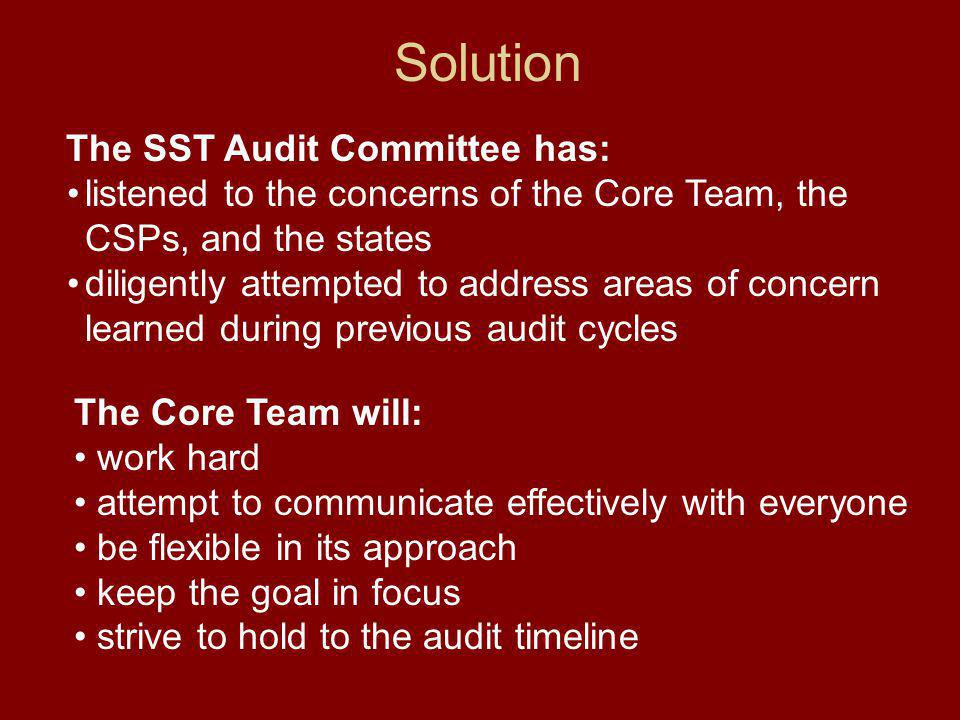 Solution The Core Team will: work hard attempt to communicate effectively with everyone be flexible in its approach keep the goal in focus strive to hold to the audit timeline The SST Audit Committee has: listened to the concerns of the Core Team, the CSPs, and the states diligently attempted to address areas of concern learned during previous audit cycles