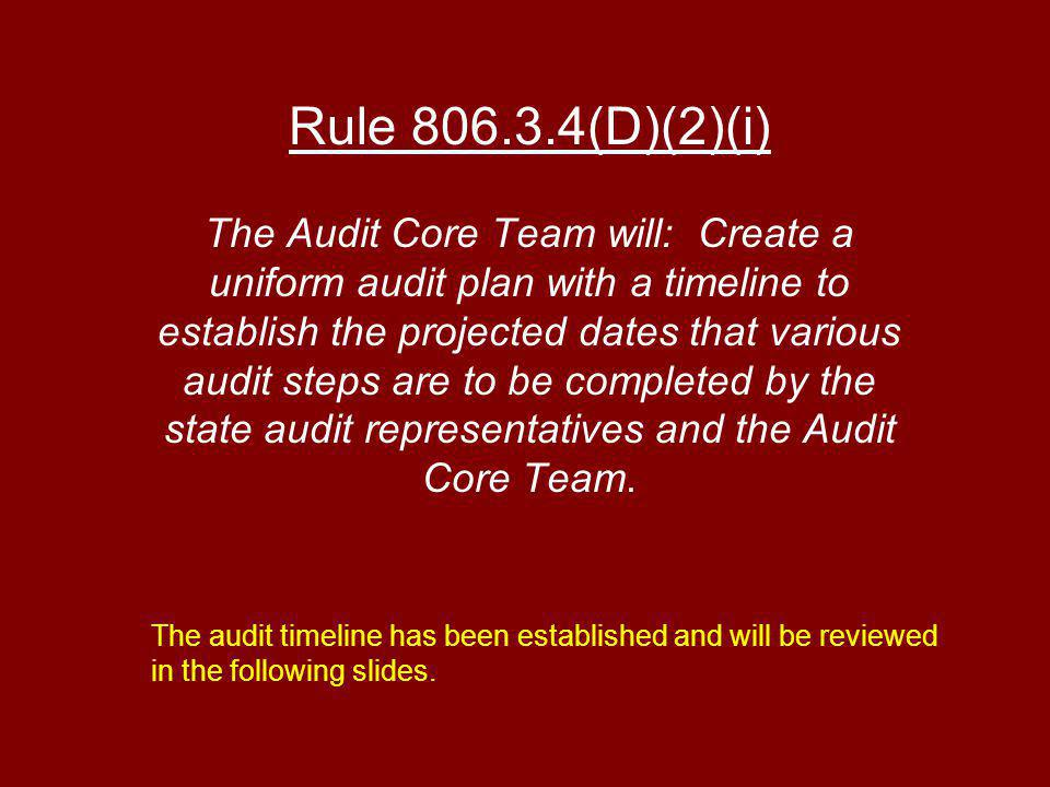 Rule (D)(2)(i) The Audit Core Team will: Create a uniform audit plan with a timeline to establish the projected dates that various audit steps are to be completed by the state audit representatives and the Audit Core Team.